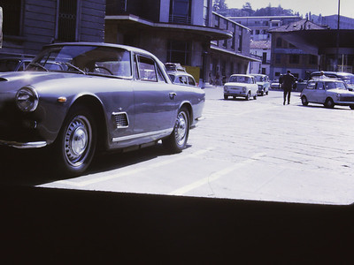 Our Maserati 3500 GTi in Europe probably crossing border at Chiasso.