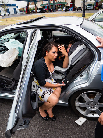 The driver who started it all: no skid marks from her car, which explains how she managed to do so much damage to four cars.