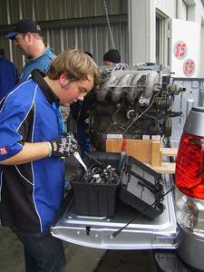 WHERE IS IT? Spencer Doty looks for the correct tool.