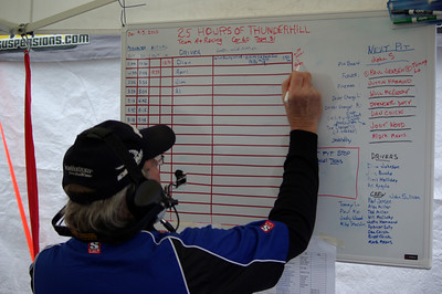KEEPING TRACK -- Team manager John Sullivan posts information after the first driver change.