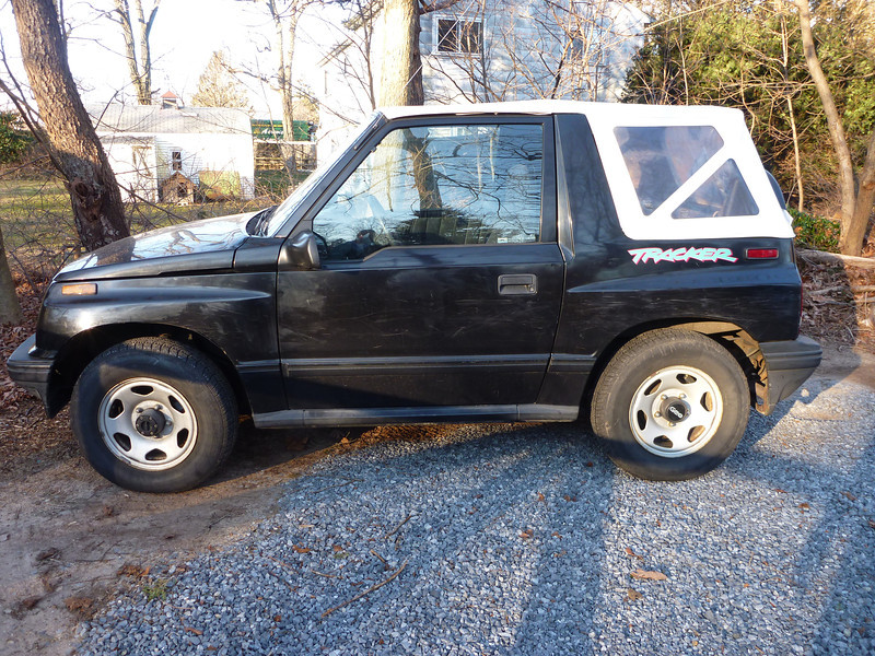 This is the 'new' car, Trevor, a 1994 Geo Tracker that Freddy will be driving.  This is before getting dirty on Dirt D.