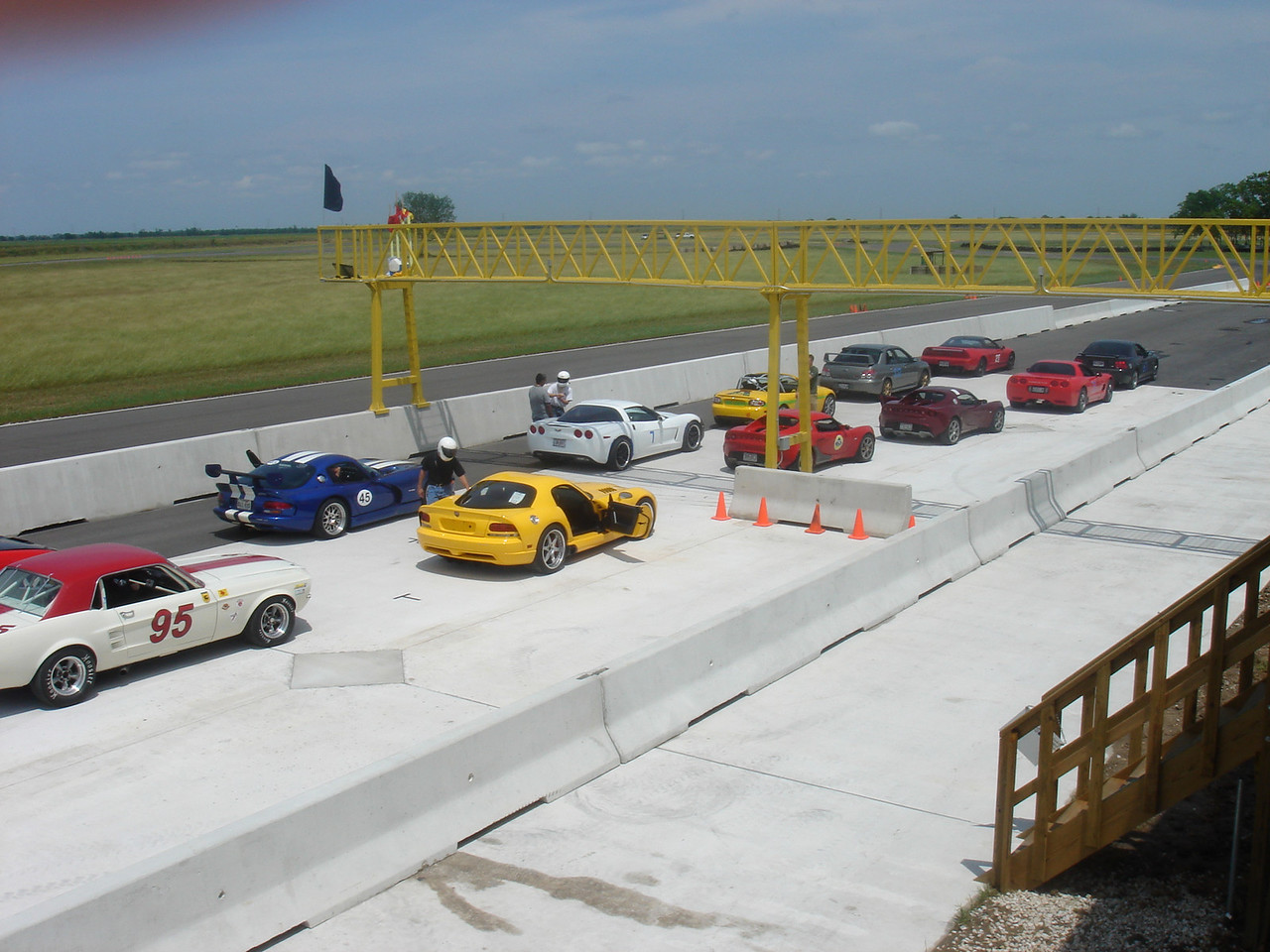 Cars lining up on grid
