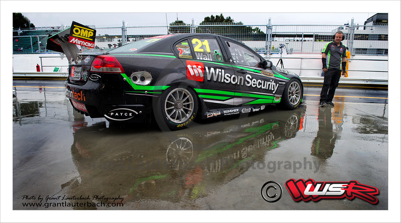 Wilson Security Racing driver David Wall getting ready to go to battle at Barbagallo raceways Trading Post V8 Supercar round in Perth Western Australia.