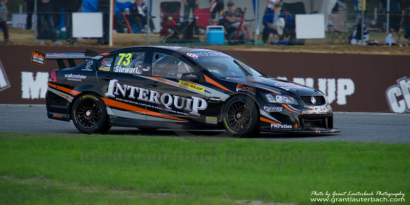 Brett Stewart driving the Interquip/Formulatech Commodore in the Dunlop Series V8 Supercar round at Barbagallo Raceway in Perth Western Australia.