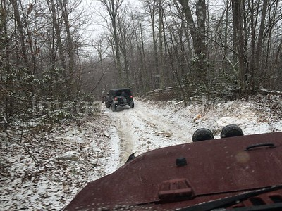 Trail riding in snow