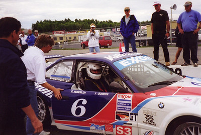 1997 - NHIS. I get strapped into the PTG Valvoline M3 with Derek Bell for a few demonstration laps.