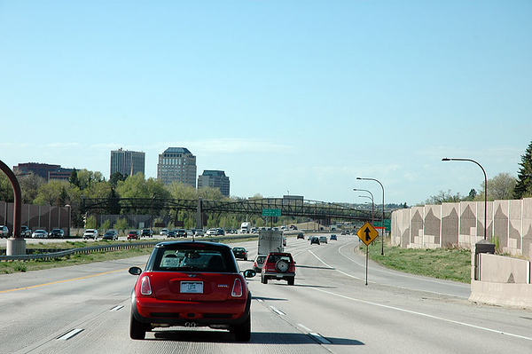 On I-25, looking toward downtown Colorado Springs