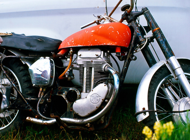 Another Matchless, but this one in slightly rougher shape and a single, probably a G80S 500. It could very easily be the same vintage as mine as this photo was taken in 1978.