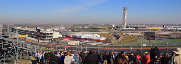 Panorama view of the track from turn one. The course at the $400 million facility is 3.6 miles and takes a good F1 car about 100 seconds to cover it.