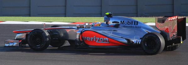 Sunday's race winner Lewis Hamilton seemed slightly faster than points leader Sebastian Vettel but had to work hard to get around him.