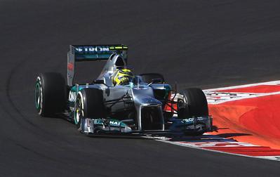 Nico Rosberg in the Mercedes, turn 7.