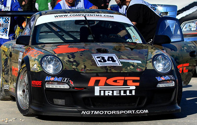 GT3 car which retired early in turn one close to us.