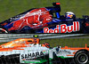 Colorful graphics on the Toro Rosso car of Australian Daniel Ricciardo, above, and Force India's Nico Hulkenberg.