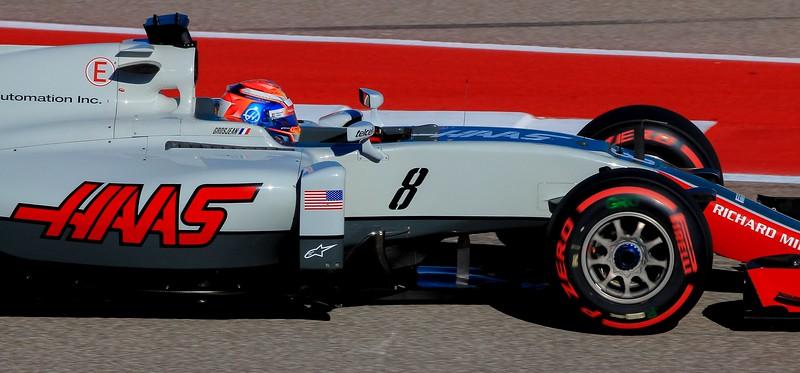 Romain Grosjean at speed throuugh the S turns.