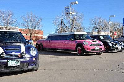The hot-pink MINI has a Barbie Doll themed interior, suicide doors (rear), an open hot tub and much more.