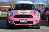From the front, Barbie's MINI looks like almost any other pink MINI, except for the high roof, which does not have a sun roof.