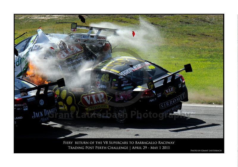Sudden impact! Over 30G's of force when cars collide at over 140km/h. In car video shows Steve Owen had no time to react, other than to partly mutter an expletive. A full tank of racing fuel hits his car like a fire hose. This photo shows the fire starting with a rapid burn about to explode.  <br /> Time on my camera 10:33.47.76