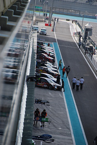 The V8s preparing to leave the pits for the first qualifying laps.