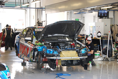Greg Murphy's car being prepared for Race 2 on Saturday.