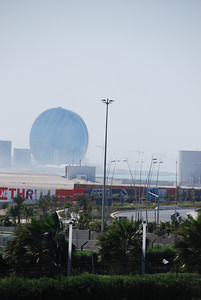From the track towards the Aaldar Head office which looks more like a pill than a pearl.