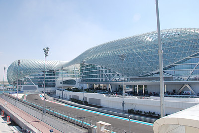 The Yas Marina Hotel and the racetrack.