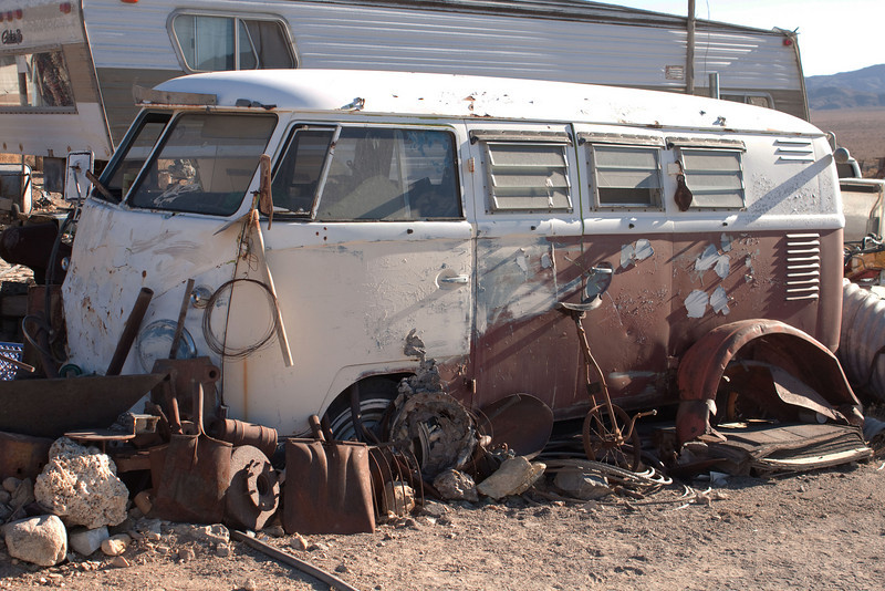 This '59 bus on David Reese's property has duel doors and was once an ambulance.