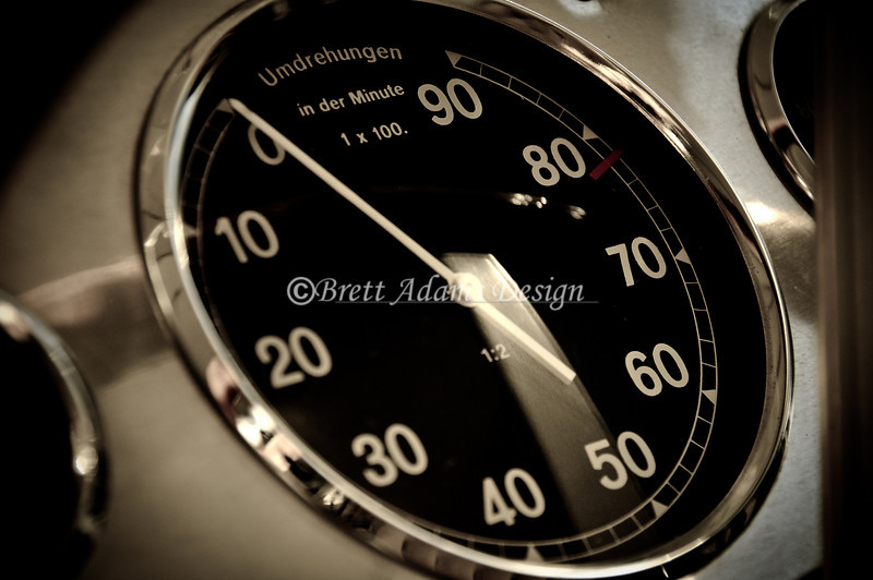1939 Mercedes Benz W154 Tachometer. <br /> Vintage Fest 2009 at Limerock Park. Limerock,CT<br /> <br /> The massive 3 liter 60 deg DOHC V12 was far ahead of its time. With an advanced 4v per cylinder configuration and using twin sequential Roots supercharger technology developed by Daimlers aero division it was capable of power output close to 500 hp. It implemented a total of nine oil pumps to ensure proper lubrication while spinning to a RPM limit of 8200 rpm