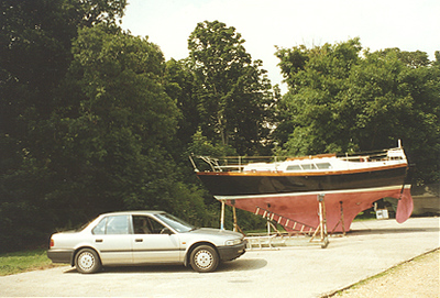 1989 Honda Accord with the sailboat I had while living in England.