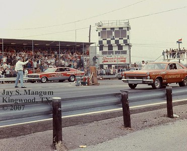 Mr. Norm's Grand Spaulding Dodge is in the far lane versus Don Nicholson, shown here at Green Valley Raceway in 1966. Not sure who drove the Supercharger that day, but suspect it was Gary Dyer. Nicholson's car was the first lightweight tube chassis funny car, and he was hard to beat in 1966. This match race was shortly after Arnie Beswick was reported running an unreal 8:35 ET. I spoke to Nicholson's wife in the pits about the Beswick run (she witnessed it) and she was adamant that Beswick's time slip had to be inaccurate. Elsewhere in this gallery is a photo of Nicholson's car the day before, on the showroom floor of a local Dallas Mercury dealer.
