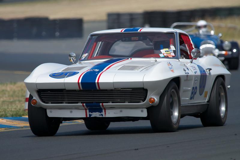 Dan Payne in his #00 1963 Corvette exiting turn ten.