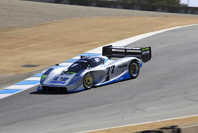 Weldon Munsey guides a Mazda RX7-92P GTP racer into Turn 8A in the Corkscrew.