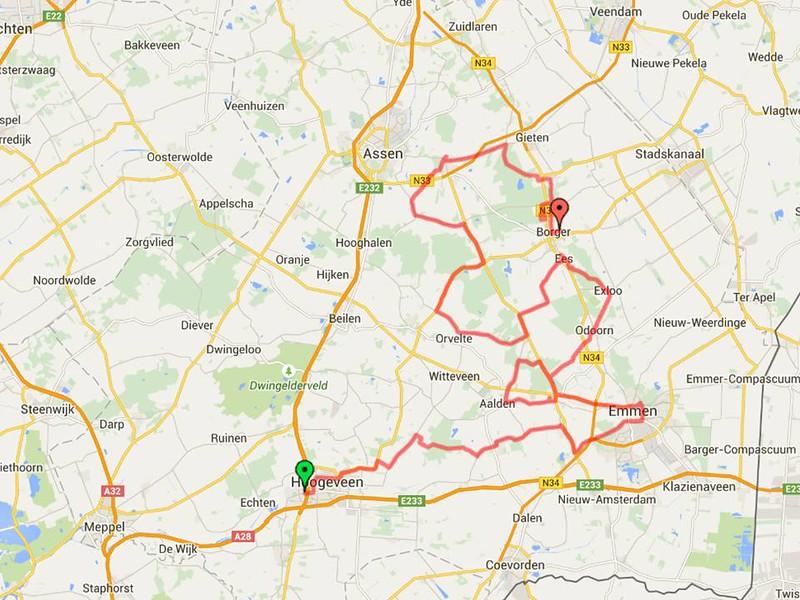 De mooie route de we in Drente hebben gereden.