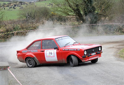 West Cork Rally, car No.76 Escort Mk2, Driver:David Jennings, Navigator:Geraldine Jennings, from Clonakilty. Picture taken on Sunday 21st at  Hayes's Cross Stage 16