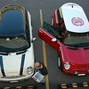 Bird's eye view of a couple of MINIs at the hotel.