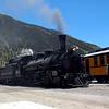 A Durango & Silverton locomotive arrives at the Silverton station.