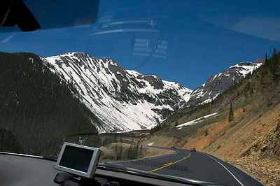 A view of the famed Million Dollar Highway from the Toyota Camry cockpit.