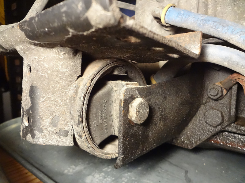 Motor mount shows some evidence of cracking in the rubber and rust/wear.  It will be replaced.