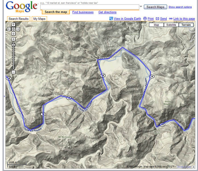 Closer view of the Cache La Poudre Scenic Byway on Google Maps.