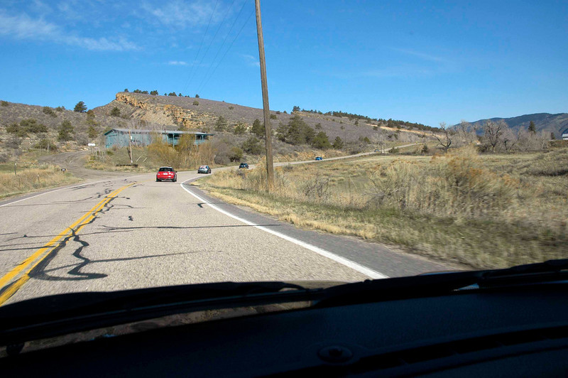 Off the interstate at last. Heading toward Masonville in the foothills east of Loveland.