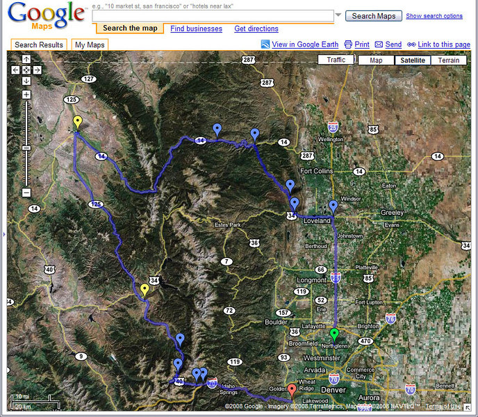 Google Map Satellite view of the route.