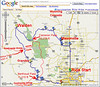 "Google Map view of the ""wound twip"" ride (counterclockwise) from Denver, northwest to the Cache La Poudre River. Lunch in Walden then south toward Winter Park, returning on I-70. Over 300 miles through a variety of road conditions with beautiful scenery, of course."