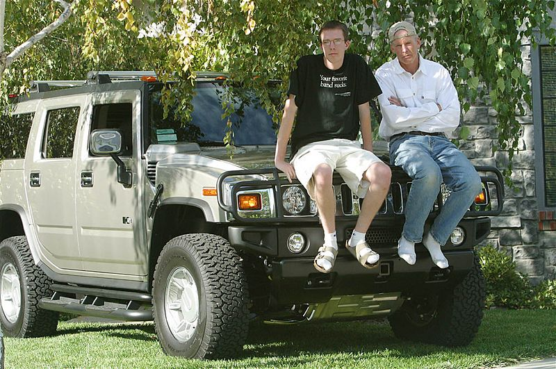 "Ben & Chris wondering how to ask ""can I borrow your Hummer?"""