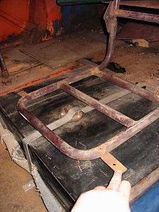 interior seat frame in place