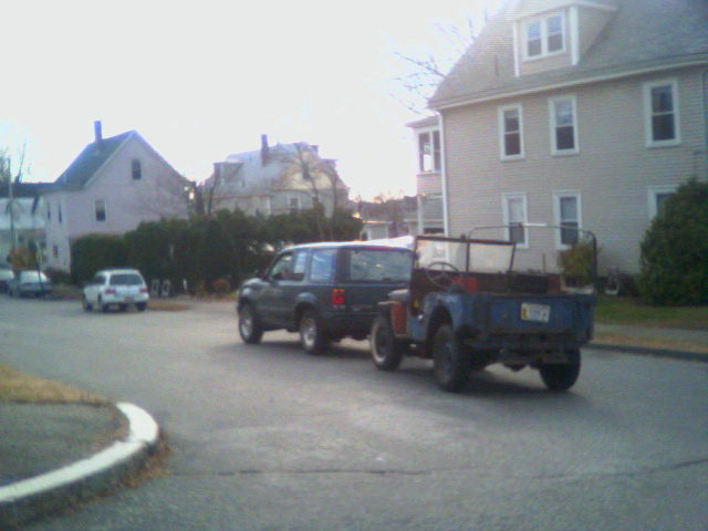 2006: On the move! The Jeep on the streets of Lynn en route to its new home in Salem.