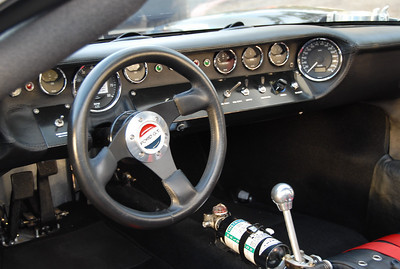 The dash of the Ford GT.  The speedometer to all the way to the right and faces the driver.