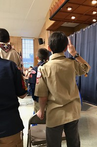 Carson giving the Scout pledge