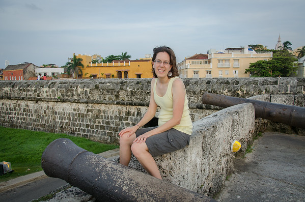 On the wall surrounding the Old Town Cartagena