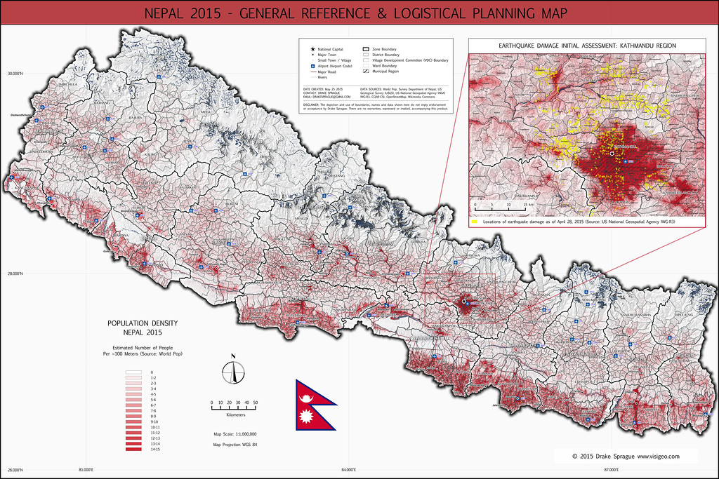 Nepal Earthquake General Reference & Logistical Planning Map | 2015
