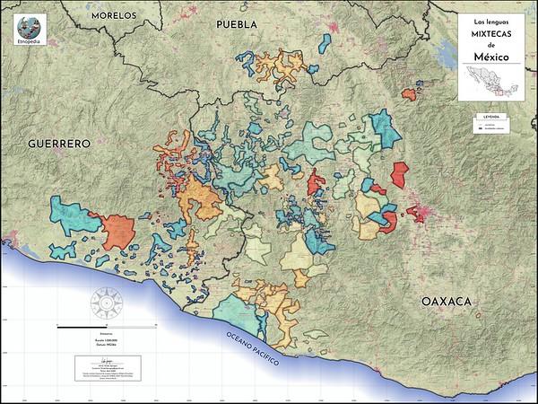 "Map | ""Las lenguas mixtecas de México"" by Drake Sprague"