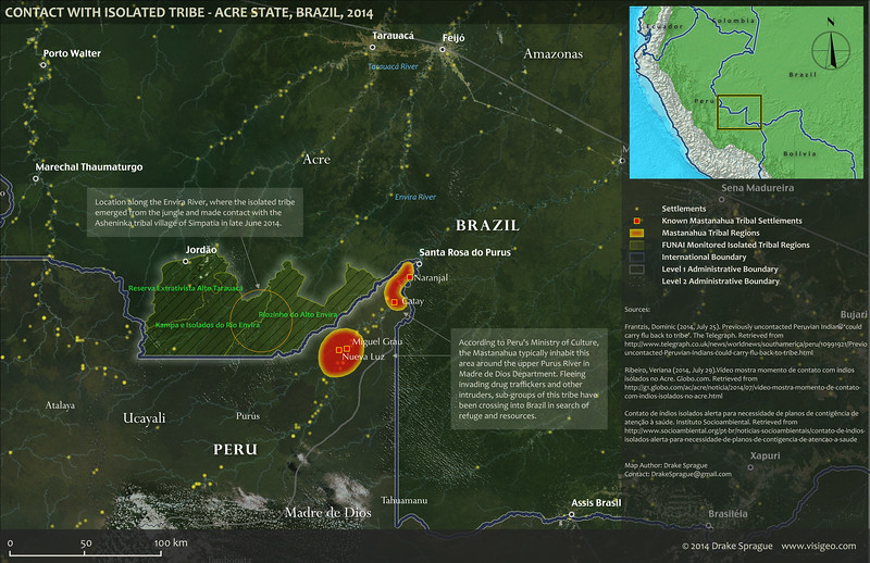 2014 Brazil Isolated Tribe Contact Report Map